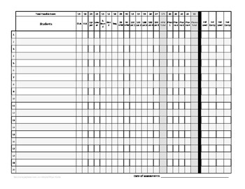 Fountas and Pinnell Reading Running Record Assessment Score Sheet