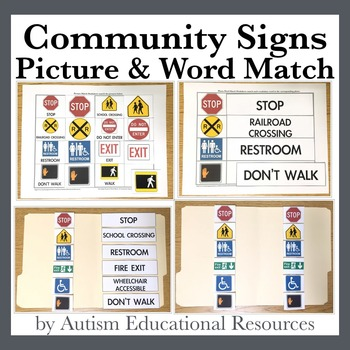 Community Signs - Four File Folder Activities, Picture & W