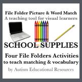 School Supplies File Folder Activities - Picture & Word Match