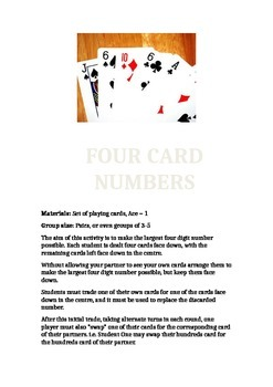 Four Card Numbers