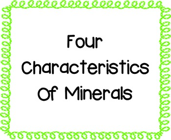 Four Characteristics of Minerals Posters