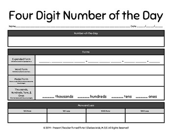 Four Digit Number of the Day Worksheet