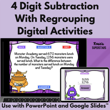 Four Digit Subtraction With Regrouping Games- 4 Monster Th