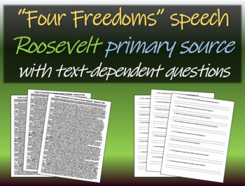 Four Freedoms Speech by Roosevelt (FDR) w/ background & te