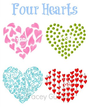 Four Hearts - Original art download, printable hearts Trac