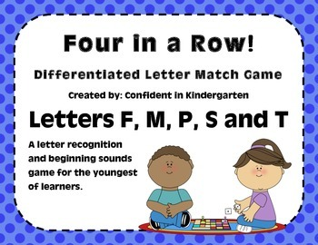 """""""Four In A Row!"""" Letter Recognition Game (M, F, P, S, T)"""