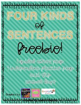 Four Kinds of Sentences Mini-Lesson FREEBIE
