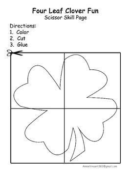 Four Leaf Clover Scissor Skill Page St. Patrick's Cutting