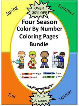 Four Seasons Color By Number No PREP Coloring Pages Bundle