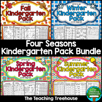 Four Seasons Kindergarten Pack Bundle ~ No Prep ~ CCSS Aligned