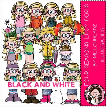 Melonheadz: Four Seasons clip art - Lucy Doris - BLACK AND WHITE