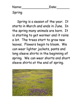 Four Seasons Reading Comprehension Packet
