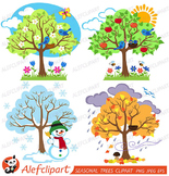 Four Seasons Trees Clipart and Vector with Spring, Summer,