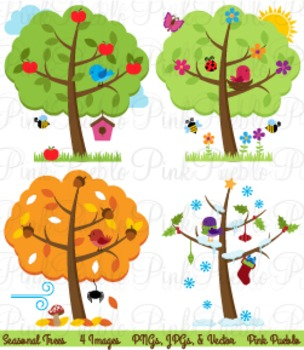 Four Seasons Trees and Birds Clip Art - Commercial and Per