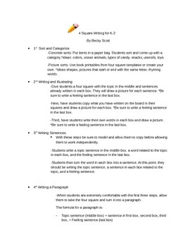Four Square Writing Outline for Teachers