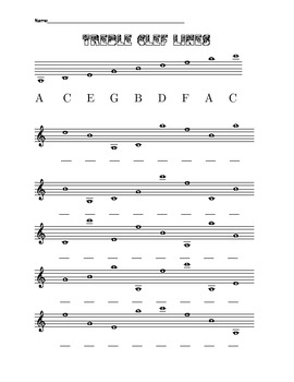 Four worksheets about the lines and spaces of the treble c