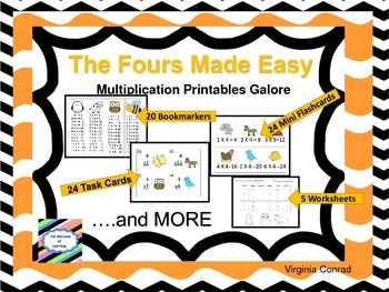 Fours Made Easy---Multiplication Printables Galore
