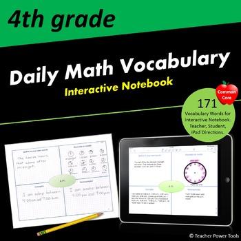 Fourth Grade CCSS Math Vocabulary Interactive Notebook