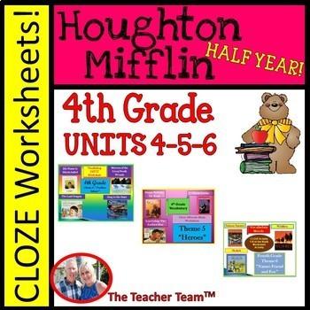 Houghton Mifflin Fourth Grade Cloze Worksheet  Half Year P