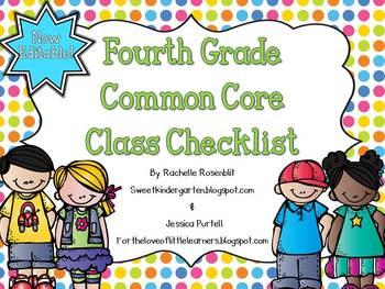 Fourth Grade Common Core Class Checklist {Now Editable!}