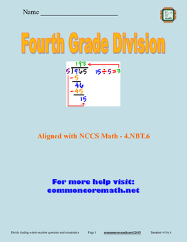 Fourth Grade Division Packet - 4.NBT.6