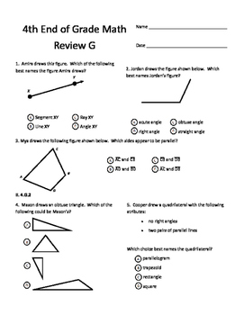 Fourth Grade End of Grade Review Pack