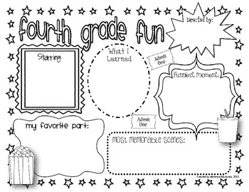{Freebie!} Fourth Grade Fun (Movie Themed Memory Page)