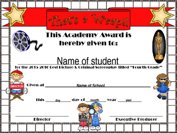 Fourth Grade Hollywood Themed End of Year certificate