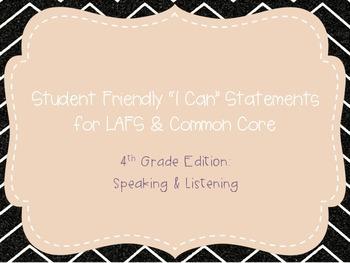 """Fourth Grade """"I Can"""" Statements LAFS & Common Core Speakin"""