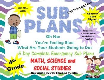 Fourth Grade Interactive Emergency Sub Plans (Math, Scienc