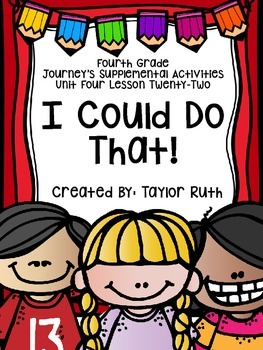 Fourth Grade Journey's Activities: I Could Do That! (Lesson 22)
