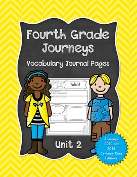 Fourth Grade Journeys Vocabulary Journal Pages Unit 2 Prin