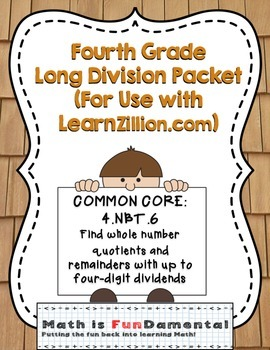 Fourth Grade Long Division Packet (For Use with LearnZill