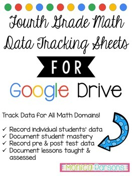 Fourth Grade Math Data Tracking Sheets for Google Drive
