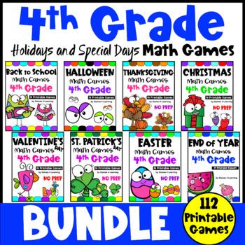 Fourth Grade Math Games Holidays Bundle: Thanksgiving Math