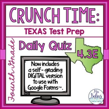 Fourth Grade Math STAAR Test Prep: Daily Quiz TEKS 4.3E