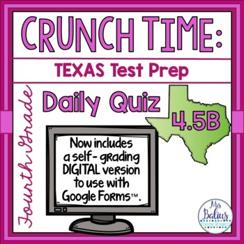 Fourth Grade Math STAAR Test Prep: Daily Quiz STAAR 4.5B