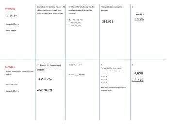 Fourth Grade Math Spiral Review for NBT.A.1-3 & NBT.B.4 (o