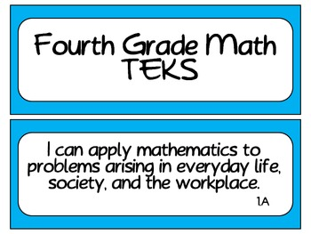 Fourth Grade Newly Revised Math TEKS~ Solid Blue