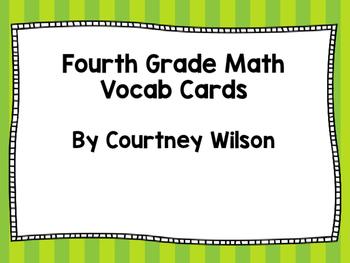 Fourth Grade Math Vocabulary Cards