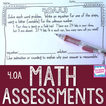 Math Assessments Fourth Grade Algebra