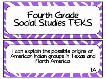 Fourth Grade Social Studies TEKS~ Purple Zebra