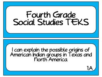 Fourth Grade Social Studies TEKS~ Solid Blue