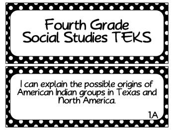 Fourth Grade Social Studies TEKS ~ White Dots on Black