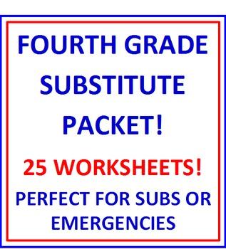 Fourth Grade Substitute BUNDLE - 25 Worksheets