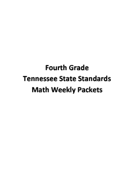 Fourth Grade Tennessee State Standards Math Weekly Packets