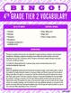Fourth Grade Tier 2 Vocabulary Bingo