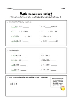 Fourth Grade Weekly Homework Packets Quarter 2 (Based on E