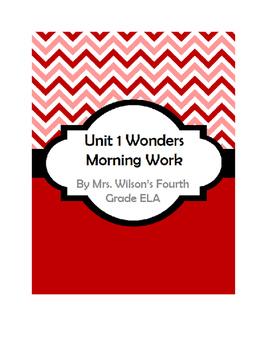 Fourth Grade Wonders Unit 1 Morning Work
