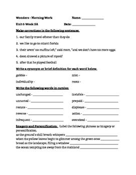 Fourth Grade Wonders Unit 6 Week 5 Morning Work